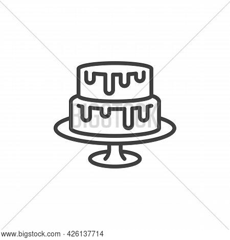 Two Tiered Cake Line Icon. Linear Style Sign For Mobile Concept And Web Design. Wedding Cake On Stan