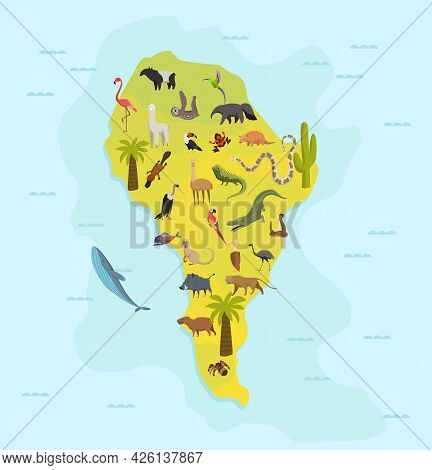 Animal Map Of South America. Nature Fauna Cartography Concept . Geographical Map With Local Fauna. C