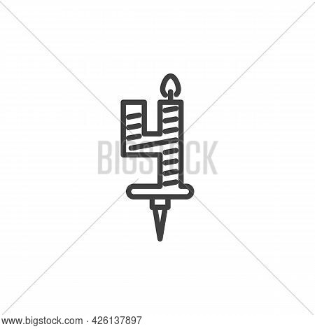 Four Years Birthday Candle Line Icon. Linear Style Sign For Mobile Concept And Web Design. Number 4