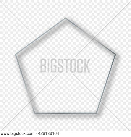 Silver Glowing Pentagon Shape Frame With Shadow Isolated On Transparent Background. Shiny Frame With