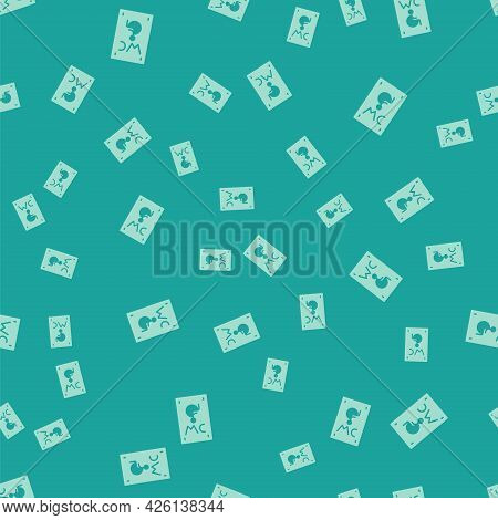 Green Separated Toilet For Disabled Persons Icon Isolated Seamless Pattern On Green Background. Hand