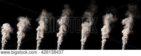 Big Column Of Smoke On Black Isolated. Cgi Industrial 3d Rendering