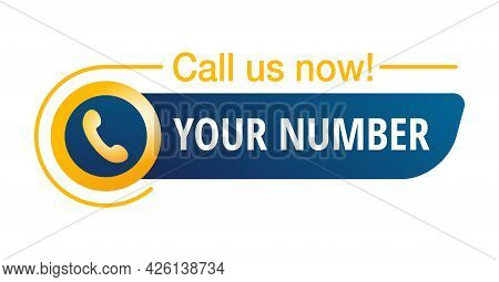 Call Us Now Blue And Yellow 3d Button - Template For Phone Number In Website Header - Sticker With P
