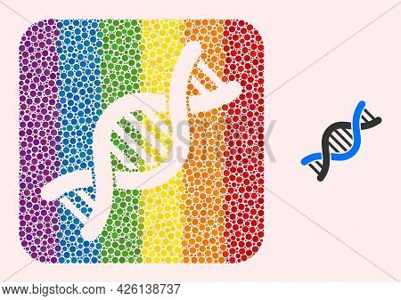 Dot Mosaic Genetic Molecule Subtracted Icon For Lgbt. Color Rounded Rectangle Mosaic Is Around Genet