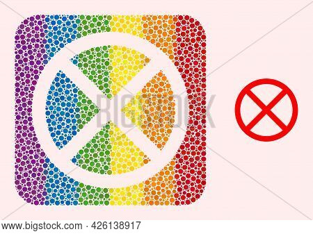 Dot Mosaic Forbidden Stencil Pictogram For Lgbt. Rainbow Colored Rounded Rectangle Mosaic Is Around