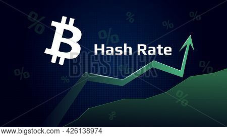 Bitcoin Btc Hash Rate Has Increase. Bitcoin Symbol With Green Up Arrow. Mining Power Has Grown. Vect