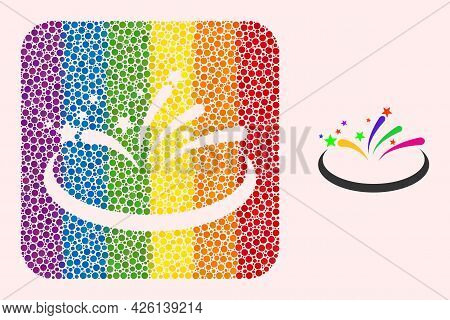 Dotted Mosaic Fireworks Area Stencil Icon For Lgbt. Rainbow Colored Rounded Rectangle Collage Is Aro