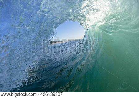 Ocean Wave Water Photography Surfing Surfer Tube Ride View Inside Out Perspective Of Hollow Tunnel C