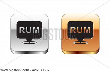Black Alcohol Drink Rum Bottle Icon Isolated On White Background. Silver And Gold Square Buttons. Ve