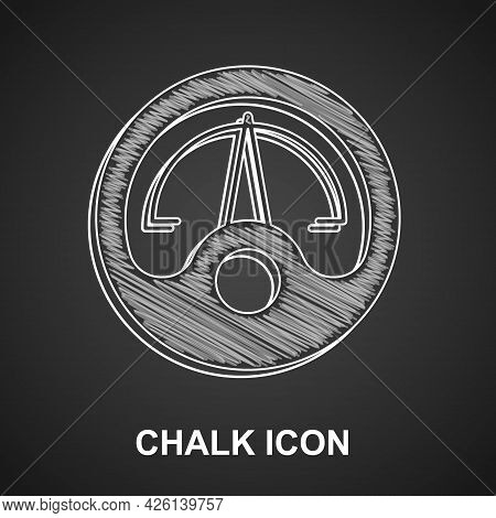 Chalk Motor Gas Gauge Icon Isolated On Black Background. Empty Fuel Meter. Full Tank Indication. Vec