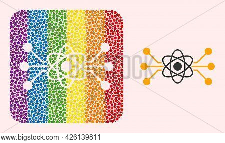 Dotted Mosaic Atomic Circuit Subtracted Pictogram For Lgbt. Colored Rounded Rectangle Mosaic Is Arou