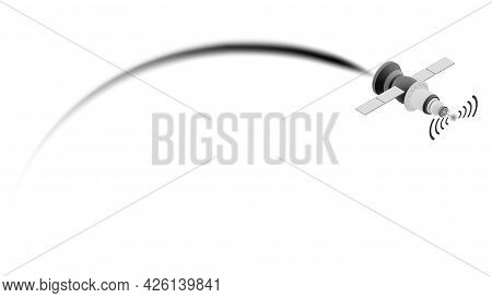 Isometric Space Satellite With Plume Of Smoke Isolated On White. High Speed Communication System. Ve
