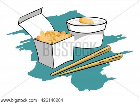 Silkworm Pupa Insects For Eating As Food Deep-fried Crispy Snack And Chopstick In Paper Box For Take