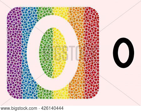 Dot Mosaic Digit Zero Hole Pictogram For Lgbt. Colored Rounded Square Mosaic Is Around Digit Zero Ho