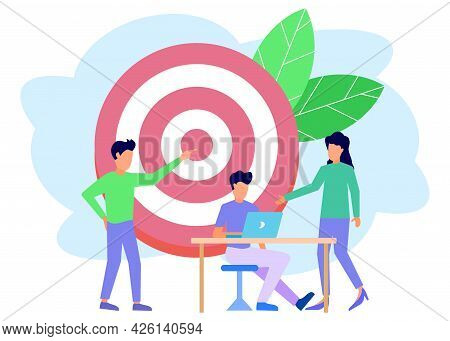 Vector Illustration Of Landing Page Design For Business Planning, Business People Looking For Ideas