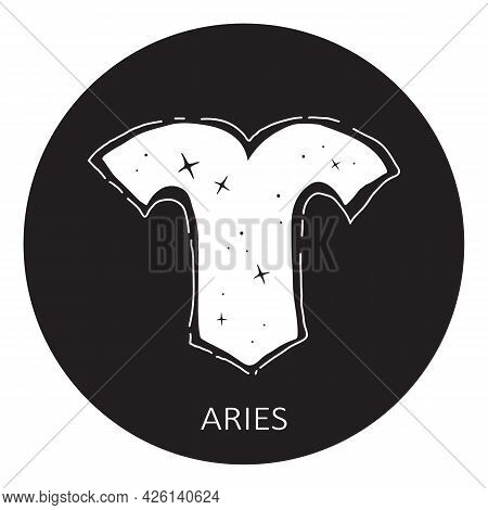 Zodiac Sign Aries Isolated On White Background. Zodiac Constellation. Design Element For Horoscope A