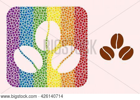 Dotted Mosaic Cacao Beans Carved Pictogram For Lgbt. Colored Rounded Square Mosaic Is Around Cacao B