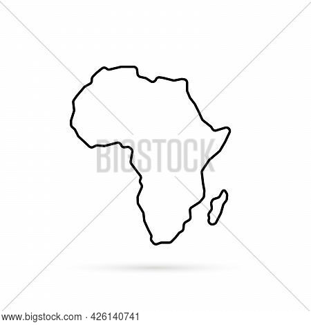 Black Thin Line Africa Map With Shadow. Lineart Simple Style Trend Modern Logotype Graphic Art Desig