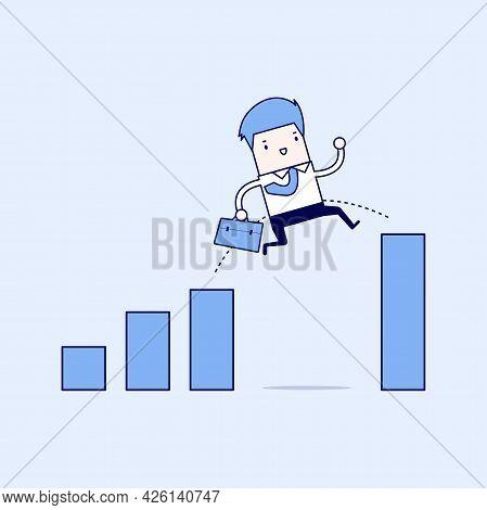 Businessman Jump Through The Gap In Growth Chart. Cartoon Character Thin Line Style Vector.