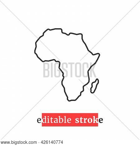Minimal Editable Stroke Africa Map Icon. Concept Of Border Of The African Continent. Simple Style Tr