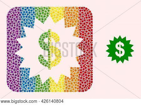Dot Mosaic Dollar Rosette Stencil Pictogram For Lgbt. Rainbow Colored Rounded Square Mosaic Is Aroun