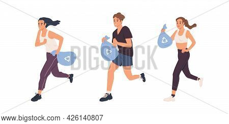 Plogging Concept. Set Of People Running With Bags And Picking Up Litter. Men And Women Jogging And C