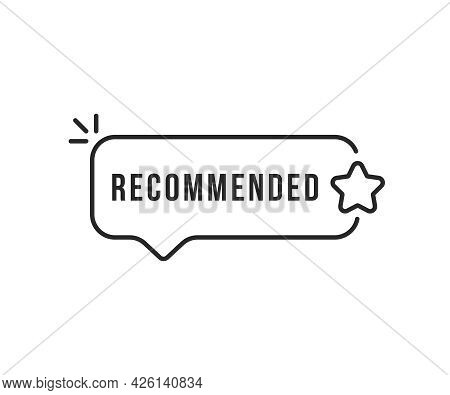 Recommended Thin Line Star On Bubble. Flat Stroke Modern Minimal Recommendation Or Feed Back Logotyp