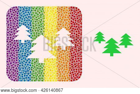 Dot Mosaic Fir Tree Forest Subtracted Pictogram For Lgbt. Rainbow Colored Rounded Rectangle Mosaic I