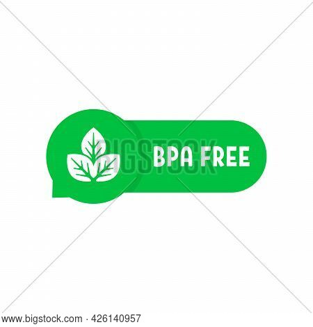 Bpa Free Simple Green Speech Bubble. Concept Of Product Without Plastic And Non-toxic Goods. Cartoon