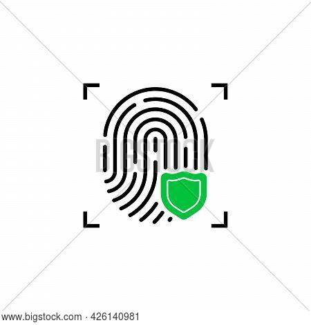 Fingerprint Icon With Green Shield. Flat Outline Inform Verification Logotype Graphic Art Design Iso