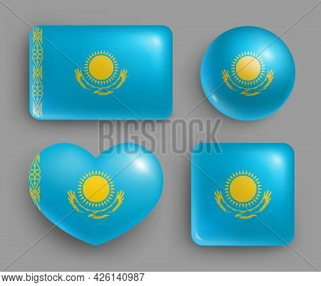 Set Of Glossy Buttons With Kazakhstan Country Flag. Middle Asia Country National Flag, Shiny Geometr