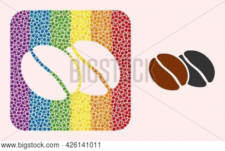 Dot Mosaic Coffee Beans Subtracted Icon For Lgbt. Colored Rounded Square Collage Is Around Coffee Be
