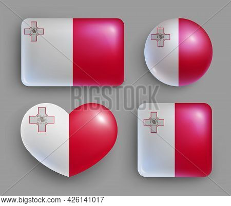 Set Of Glossy Buttons With Malta Country Flag. South Europe Country National Flag Shiny Badges Of Ge
