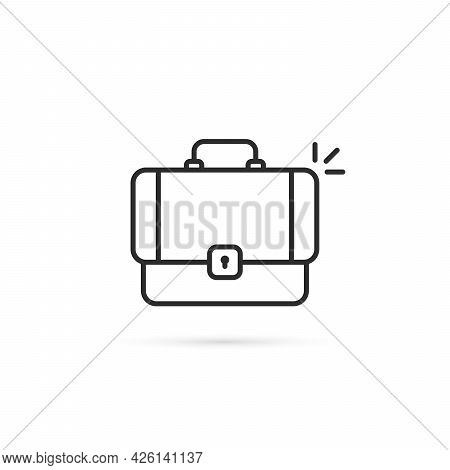 Thin Line Black Suitcase Minimal Icon. Linear Style Trend Modern Brief Case Logotype Graphic Simple