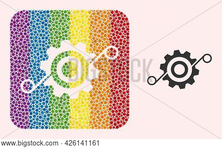 Dot Mosaic Cog Solution Subtracted Pictogram For Lgbt. Rainbow Colored Rounded Square Mosaic Is Arou
