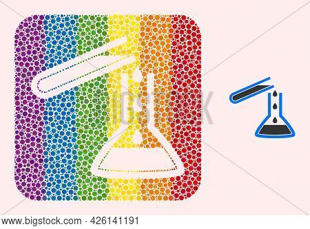Dotted Mosaic Chemical Liquid Glasses Subtracted Icon For Lgbt. Color Rounded Rectangle Mosaic Is Ar