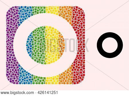 Dotted Mosaic Donut Carved Pictogram For Lgbt. Multicolored Rounded Rectangle Mosaic Is Around Donut