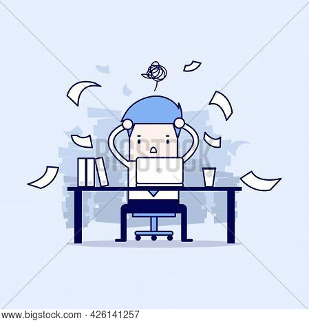 Busy Time Of Businessman In Hard Working. A Lot Of Work. Stress At Work. Cartoon Character Thin Line