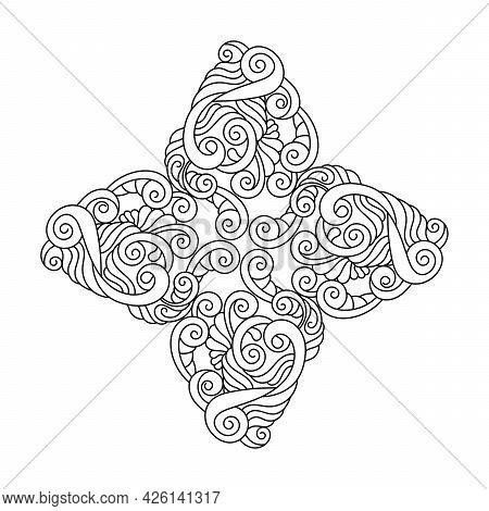 Coloring Book For Adult And Older Children. Mandala Flower , Four Petals, Hand Drawn Mandala Pattern