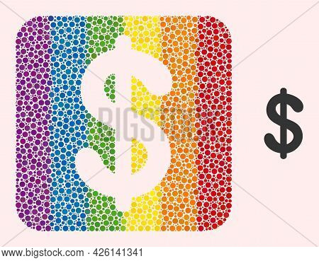 Dot Mosaic Dollar Currency Subtracted Pictogram For Lgbt. Rainbow Colored Rounded Square Collage Is