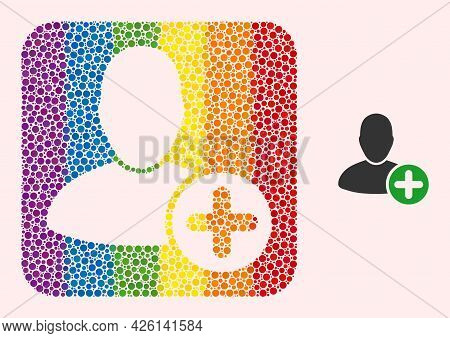 Dotted Mosaic Add User Carved Icon For Lgbt. Rainbow Colored Rounded Square Collage Is Around Add Us