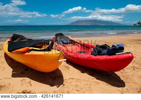 Kayak Tourism. Beach Background. Calm Beautiful Ocean Wave On Sandy Beach. Sea View From Tropical Se