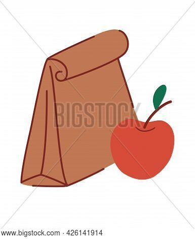 Lunch For School. Paper Bag With Food And An Apple. Lunch Box For Children. Take It With You. Recycl