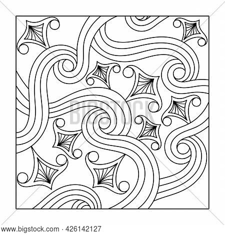 Coloring Book For Adult And Older Children. A Square Decorative Element . Hand Drawn Vector Illustra
