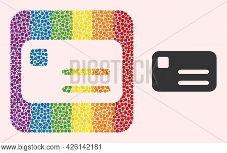 Dotted Mosaic Banking Card Subtracted Pictogram For Lgbt. Rainbow Colored Rounded Square Mosaic Is A