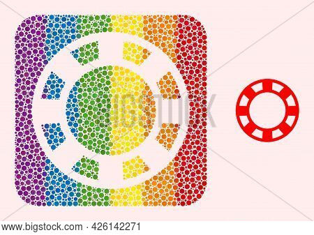Dotted Mosaic Casino Chip Carved Pictogram For Lgbt. Rainbow Colored Rounded Rectangle Mosaic Is Aro