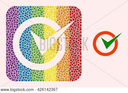 Dot Mosaic Checkbox Circle Carved Pictogram For Lgbt. Colorful Rounded Rectangle Mosaic Is Around Ch