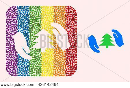 Dotted Mosaic Fir Tree Care Hands Hole Icon For Lgbt. Colored Rounded Rectangle Mosaic Is Around Fir
