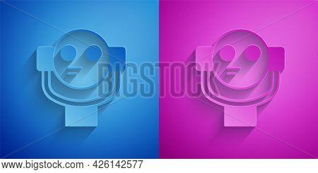 Paper Cut Tourist Binoculars Icon Isolated On Blue And Purple Background. Binoculars Telescope On Th