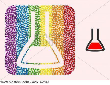 Dot Mosaic Chemical Flask Stencil Pictogram For Lgbt. Rainbow Colored Rounded Square Mosaic Is Aroun
